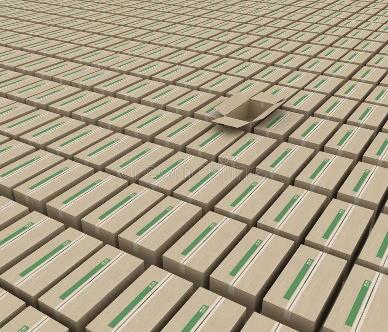 货物的配件箱占用的空间 库存例证