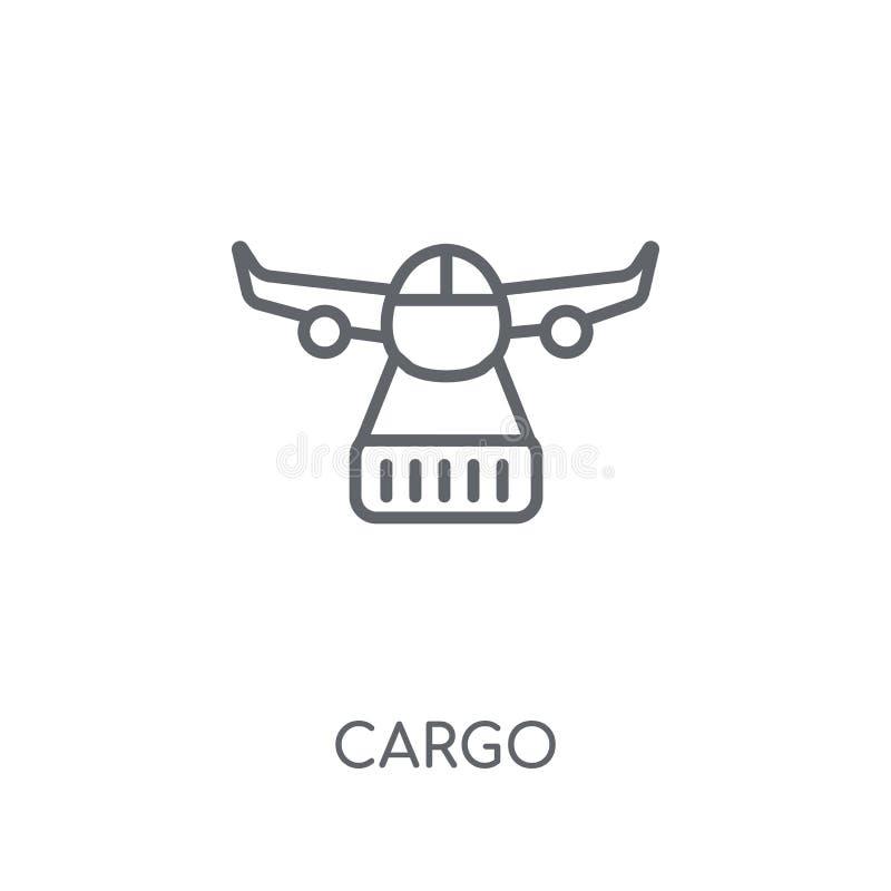 货物线性象 在白色ba的现代概述货物商标概念 库存例证