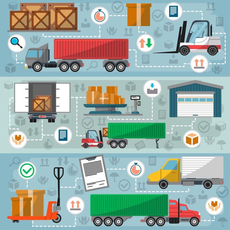 货物路交换的后勤学和管理集合 库存例证