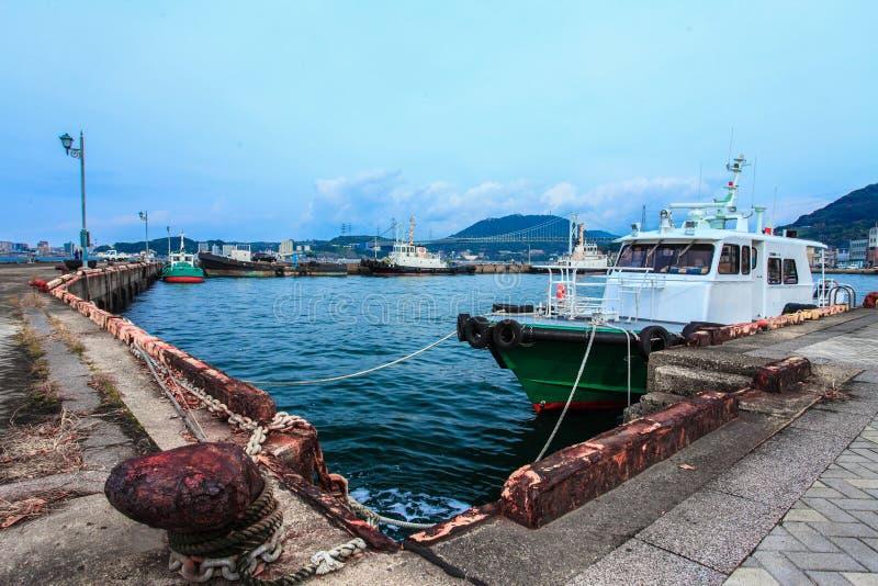 货船在船坞停放了在Mojiko,北九州,福冈,日本 免版税库存照片