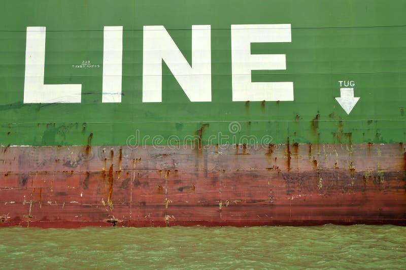 货船猛拉线路 免版税库存照片