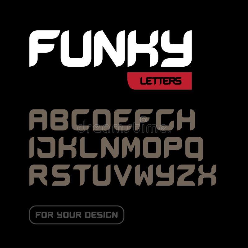 质朴的字体 几何,体育,未来派,未来techno字母表 信件和数字军事,工业设计的 库存例证
