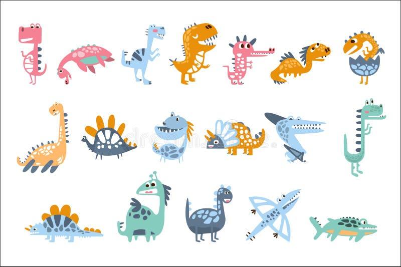 质朴的风格化恐龙真正的种类和虚构的侏罗纪爬行动物被设置五颜六色的幼稚印刷品 皇族释放例证