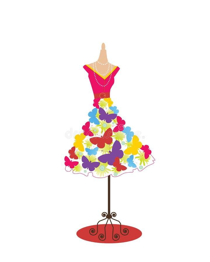 质朴蝴蝶的礼服 库存例证