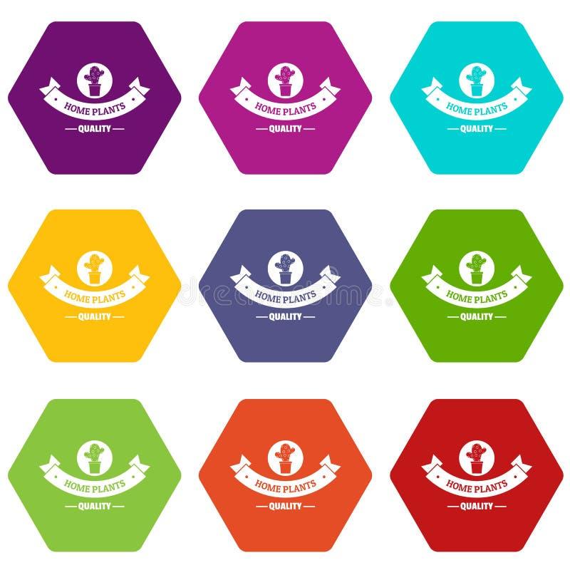 质量家庭仙人掌象设置了9传染媒介 向量例证