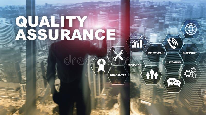 质量管理和冲击的概念对企业 质量管理 为保证服务 混合画法 库存照片
