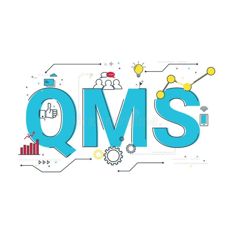 质量管理系统, QMS字词概念的例证 向量例证