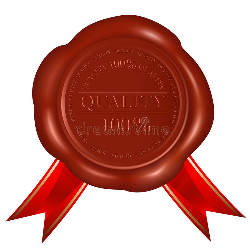 质量红色丝带密封向量蜡 库存例证