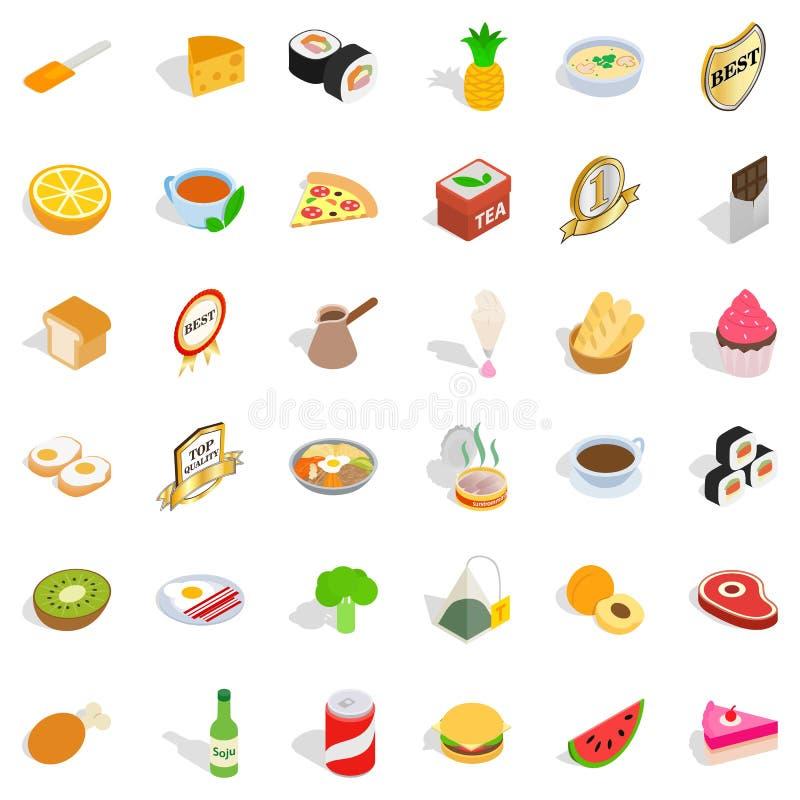 质量被设置的食物象,等量样式 库存例证