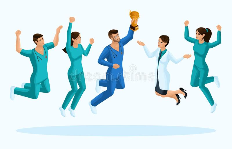 质量,3D Isometry医生和护士,跃迁,喜悦医护人员的幸福,给的概念做广告 向量例证