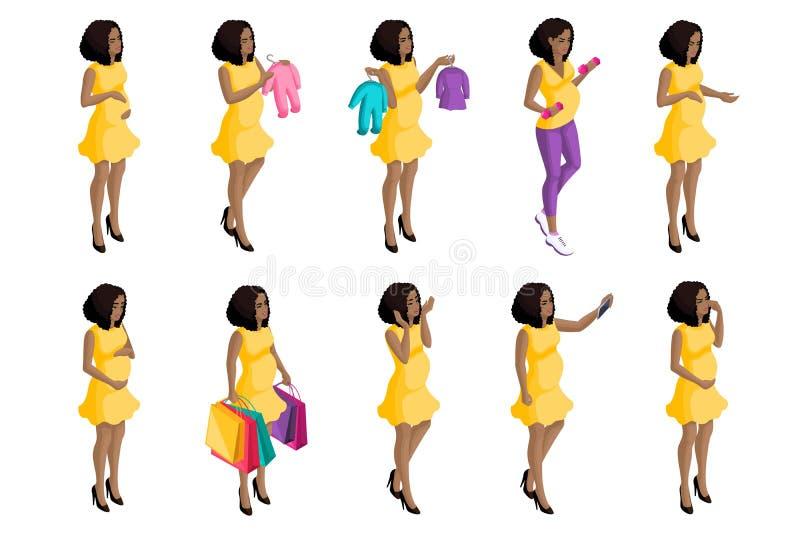 质量Isometry,3D怀孕的非裔美国人的女孩,大套孕妇,为孩子的诞生做准备 库存例证