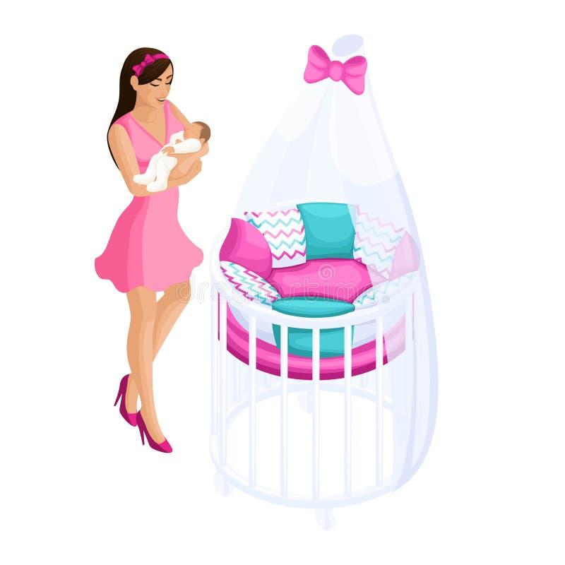 质量Isometry,3D有婴孩的,轻便小床变压器,现代婴孩家具,幸福家庭女孩 皇族释放例证