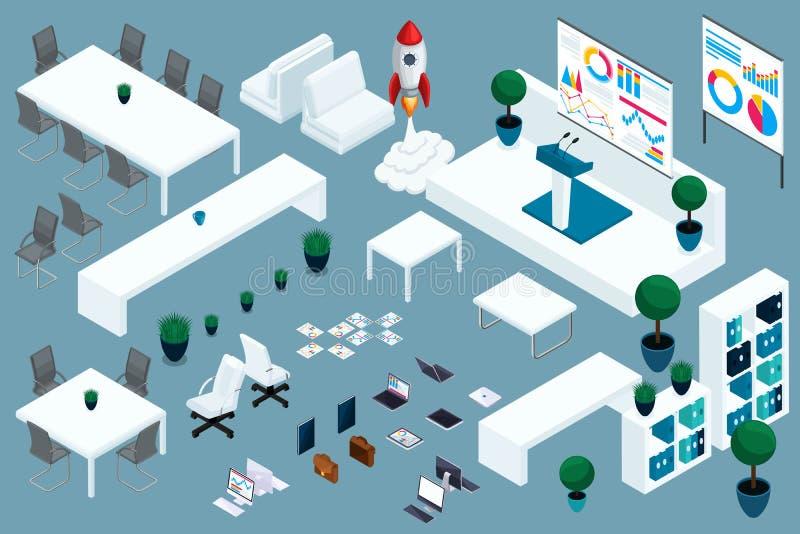 质量Isometry,3D设置了办公室和交易起步的家具 做广告的优秀构成 向量例证