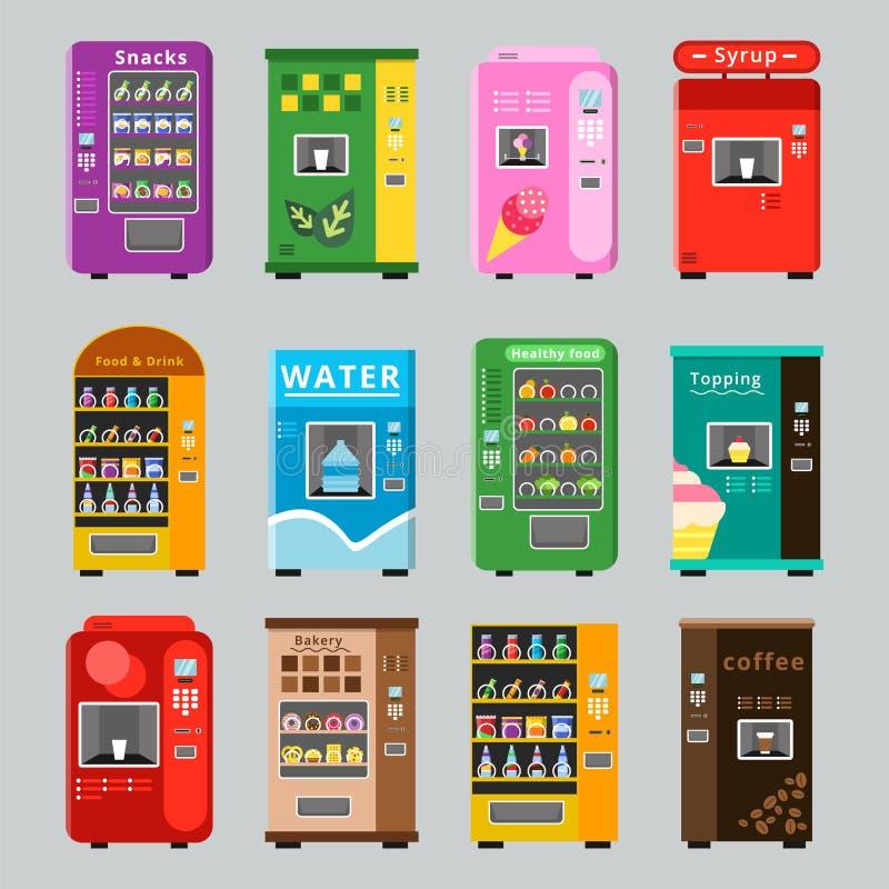 贩卖机collcetion 与自动销售的各种各样的快餐的商品概念浇灌咖啡和酥脆食物 向量例证