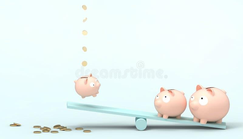 贪心桃红色使用与在概念现代美术淡色蓝色背景的蓝色跷跷板的银行储款和金钱 向量例证