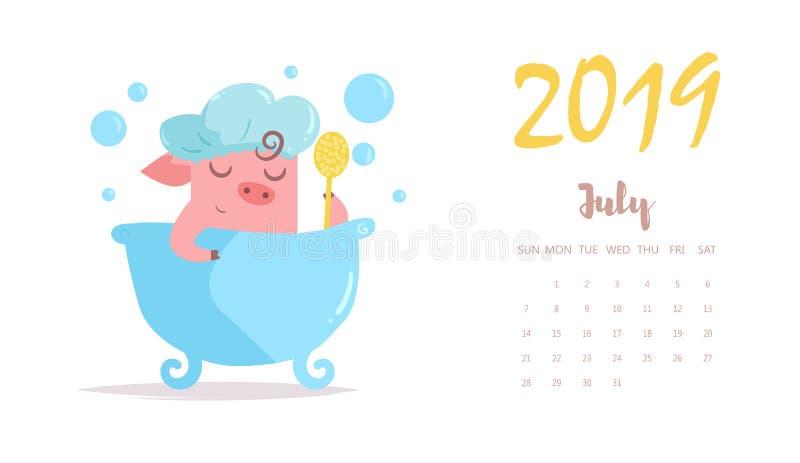 贪心洗涤在卫生间里 向量 动画片 被隔绝的艺术平的7月日历2019年.图片