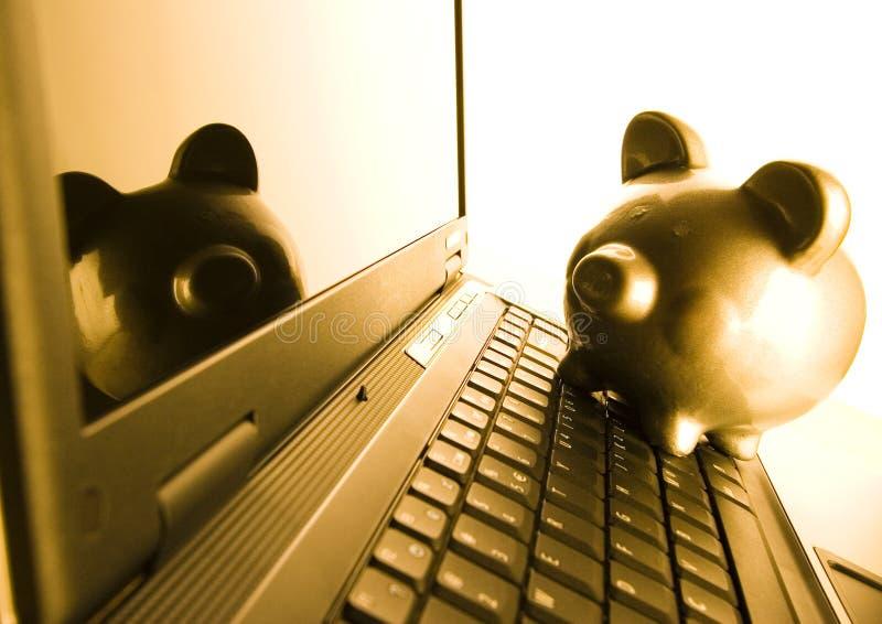 贪心银行的笔记本 免版税库存照片
