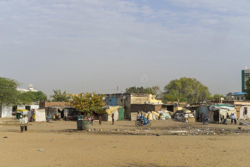 贫民窟地区在斋浦尔印度 免版税库存照片