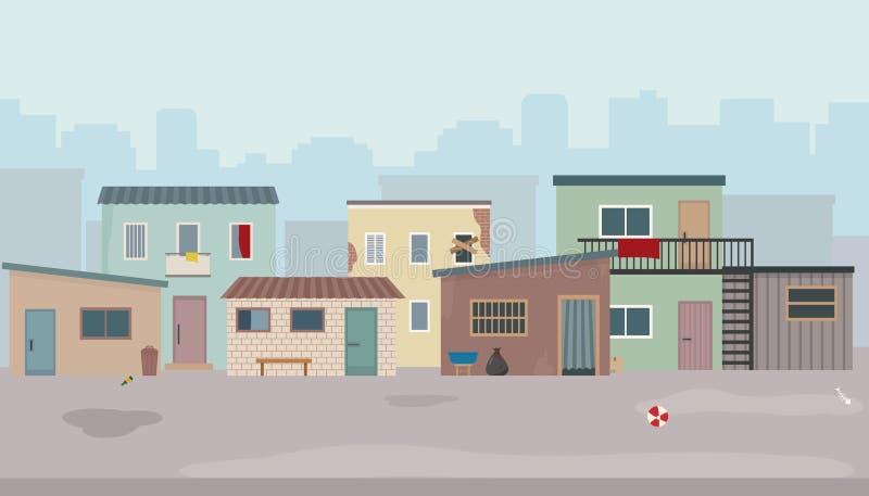 贫民窟 小屋和老被破坏的房子街道的 皇族释放例证