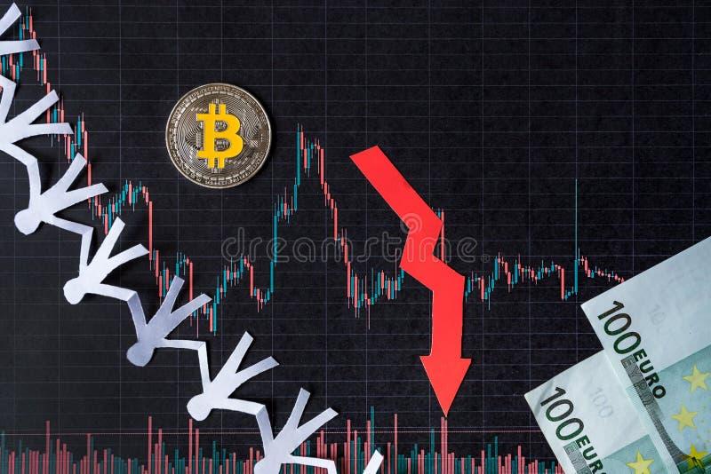 贬值真正金钱bitcoin的无利益的投资 红色箭头、银色bitcoin和欧元钞票在纸外汇去下来 库存照片
