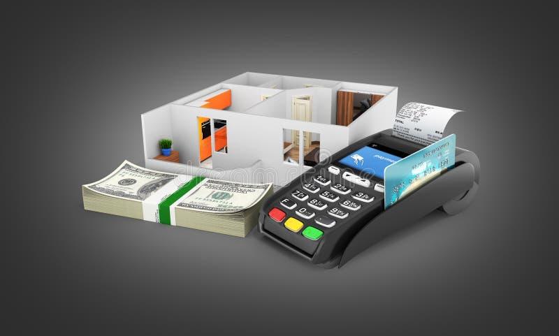 购买或付款的概念安置的公寓布局与堆金钱美国人一百元钞票和POS终端 向量例证