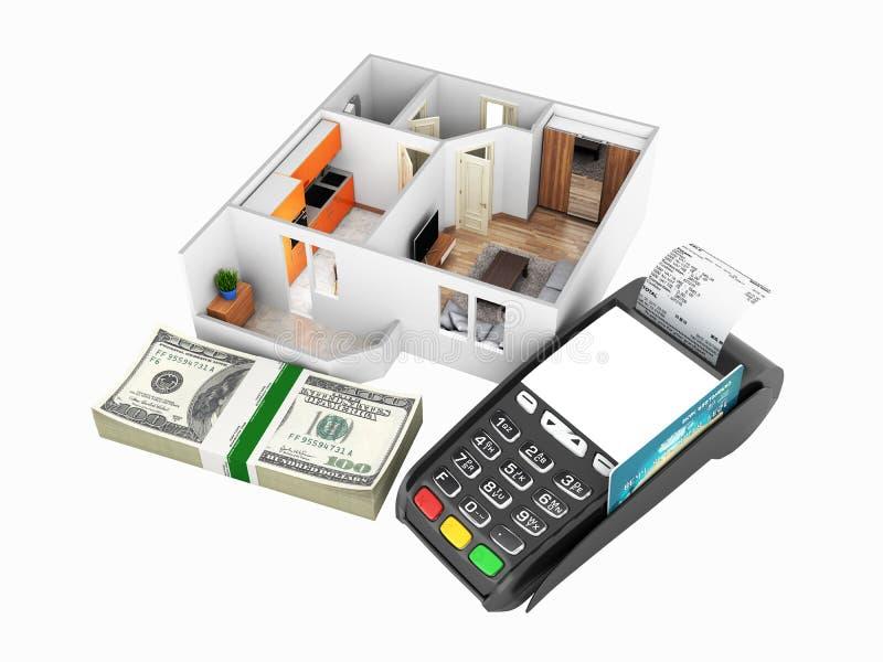 购买或付款的概念安置的公寓布局与堆金钱美国人一百元钞票和POS终端 皇族释放例证