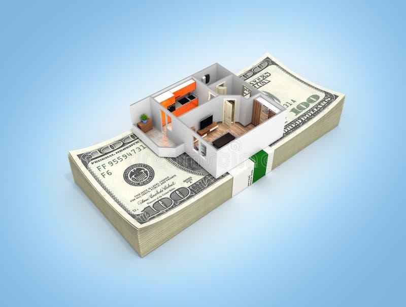 购买或付款的概念安置的公寓布局与堆金钱美国人在蓝色隔绝的一百元钞票 皇族释放例证