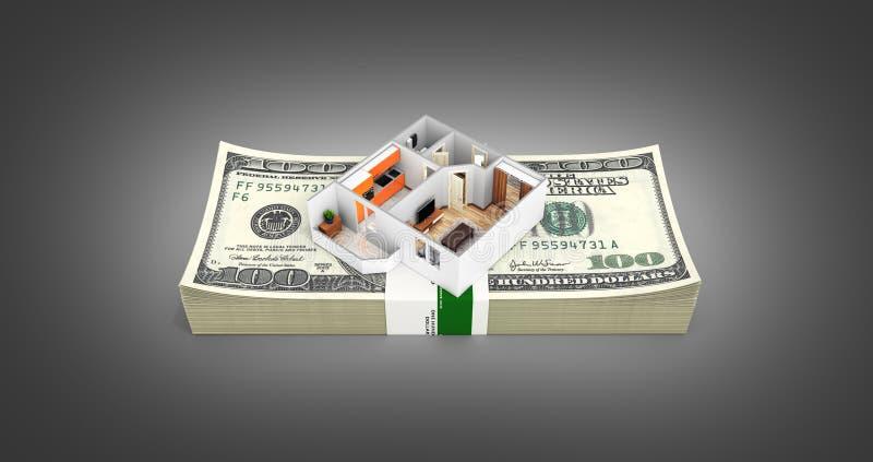 购买或付款的概念安置的公寓布局与堆金钱美国人在黑色隔绝的一百元钞票 向量例证