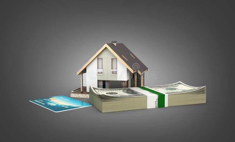 购买或付款的概念安置的议院有堆的金钱美国人一百元钞票和被隔绝的信用卡  皇族释放例证