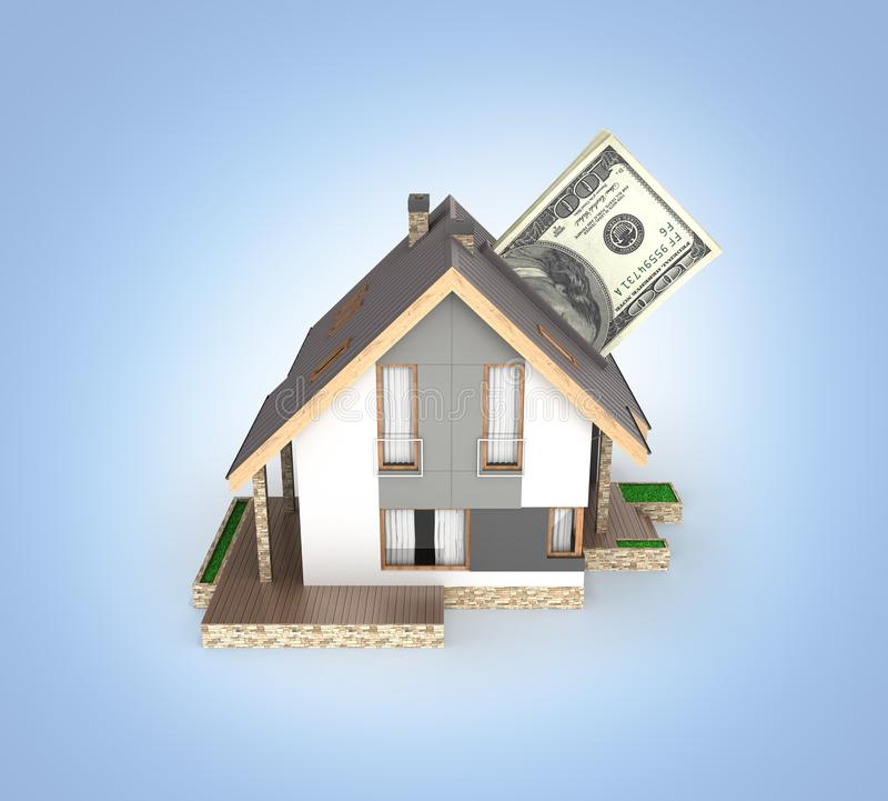 购买或付款的概念安置的议院有堆的金钱美国人在蓝色梯度隔绝的一百元钞票 库存例证