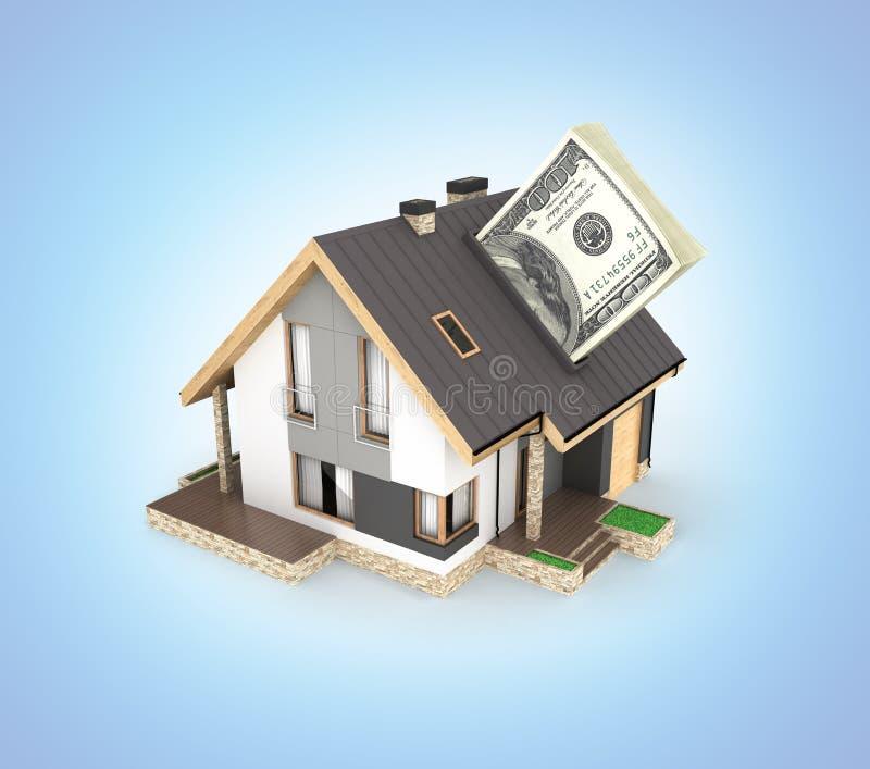 购买或付款的概念安置的议院有堆的金钱美国人在蓝色梯度隔绝的一百元钞票 向量例证