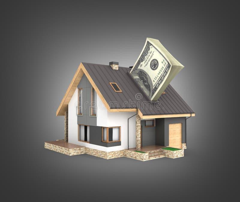 购买或付款的概念安置的议院有堆的金钱美国人在黑梯度隔绝的一百元钞票 皇族释放例证