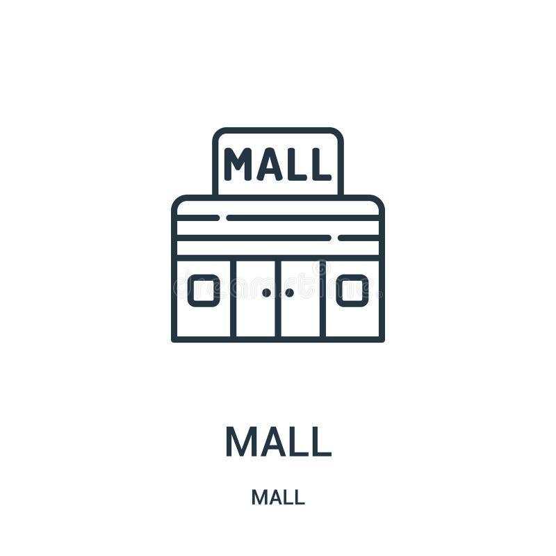 购物中心从购物中心汇集的象传染媒介 稀薄的线购物中心概述象传染媒介例证 线性标志为在网和机动性的使用 皇族释放例证