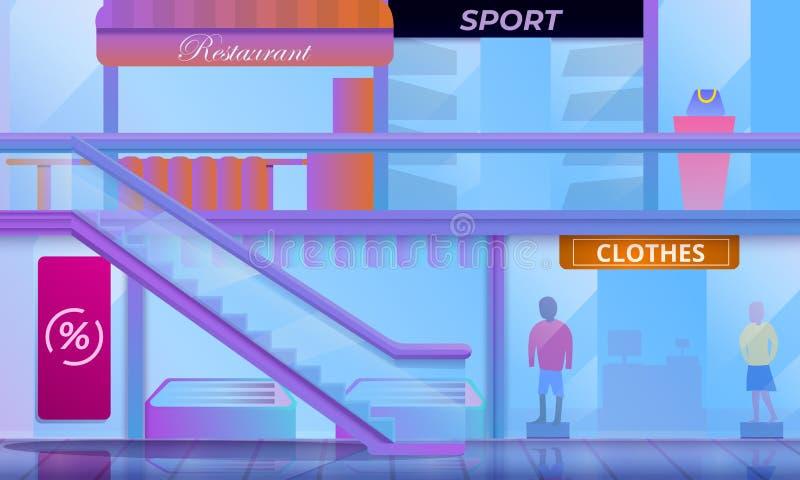购物中心概念横幅,动画片样式 向量例证