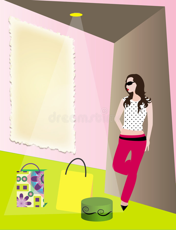 购物中心现代购物妇女 向量例证