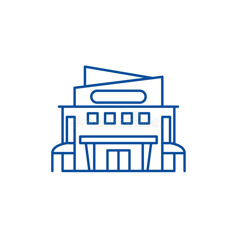 购物中心线象概念 购物中心平的传染媒介标志,标志,概述例证 皇族释放例证
