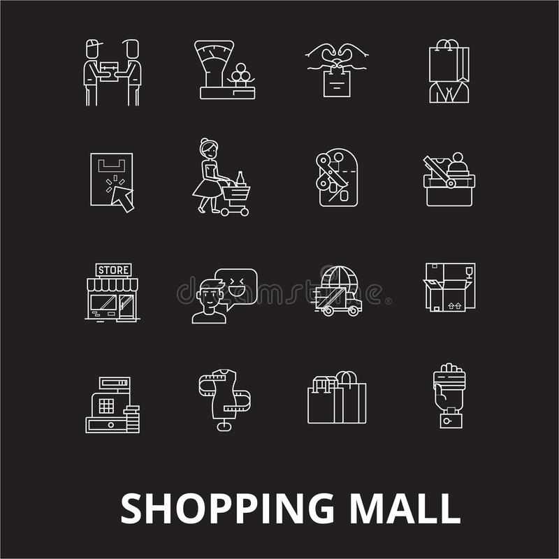 购物中心编辑可能的线象导航在黑背景的集合 购物中心白色概述例证,标志 向量例证