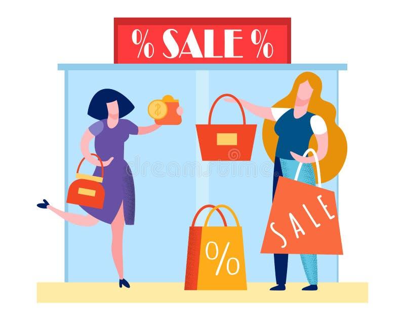购物中心黑色星期五事件平的传染媒介例证 库存例证