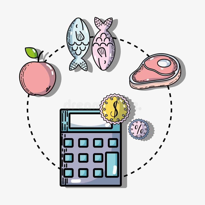 购物产品在超级市场用品种食物 库存例证