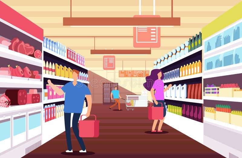 购物人在大型超级市场 在食品架子之间的顾客 零售和折扣销售传染媒介概念 向量例证