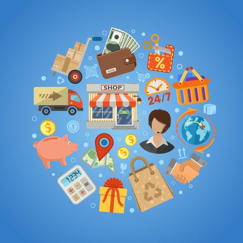 购物和交付概念 库存例证