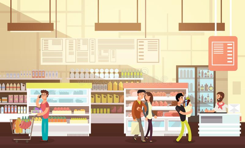 购物在杂货店的人们 与顾客平的传染媒介例证的超级市场零售内部 库存例证
