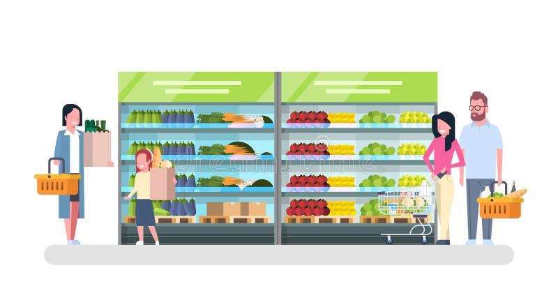 购物在杂货店,顾客市场,销售超级市场概念的人们 库存例证