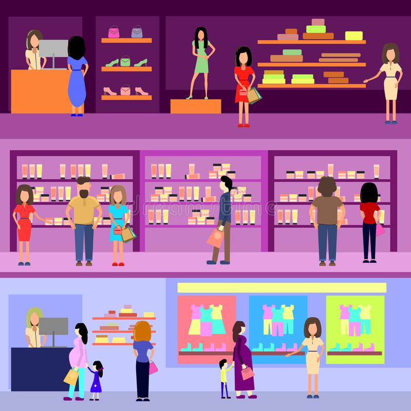 购物在购物中心概念的人们 设计元素和横幅 平的样式例证 向量例证