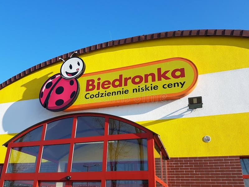 购物在超级市场Biedronka 免版税图库摄影