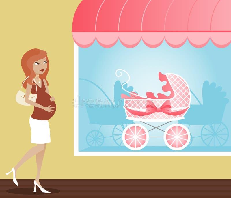购物婴儿推车 皇族释放例证