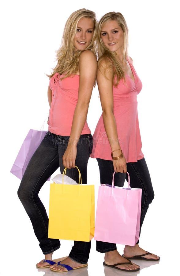 购物孪生 库存照片