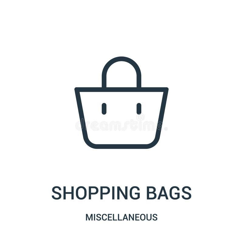 购物带来从混杂收藏的象传染媒介 稀薄的线购物带来概述象传染媒介例证 线性标志 库存例证