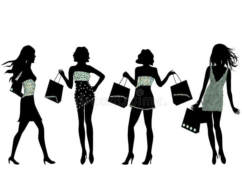 购物现出轮廓妇女 向量例证