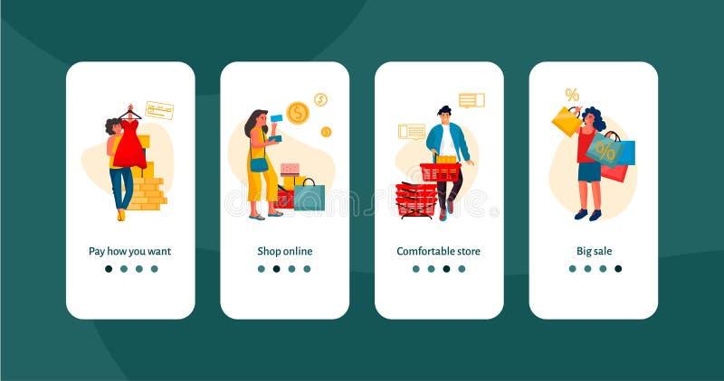 购物的人在机上屏幕 与购物的愉快的人民,电子商务流动应用程序横幅的时髦场面 传染媒介折扣 向量例证